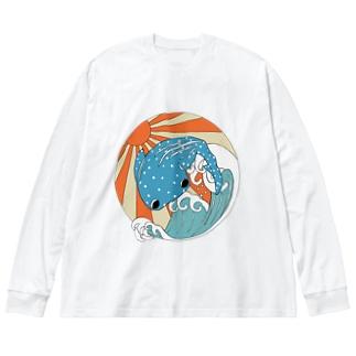 甚兵衛鮫 Big silhouette long sleeve T-shirts