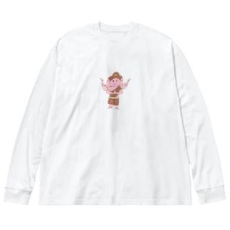 アシュラくん Big silhouette long sleeve T-shirts