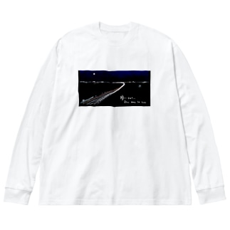 月にいるみたい Big silhouette long sleeve T-shirts