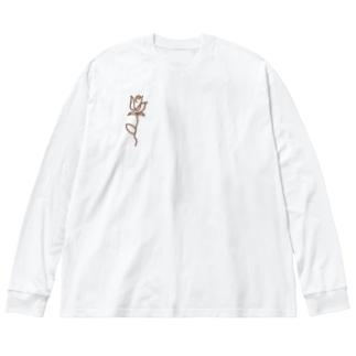 シンプルなひと描きの薔薇 Big silhouette long sleeve T-shirts