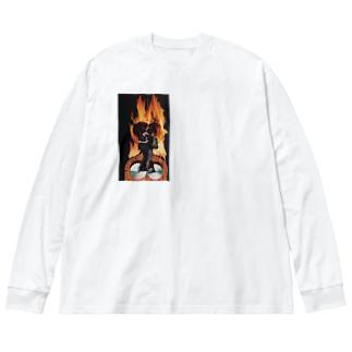 fire Big silhouette long sleeve T-shirts