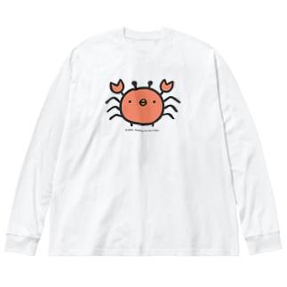 でかめのひよこかに Big silhouette long sleeve T-shirts