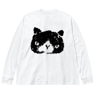 シロクロぬこ Big silhouette long sleeve T-shirts