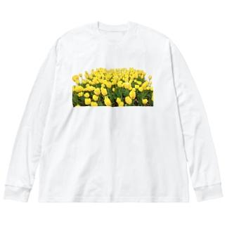 きいろい ちうりっぷ Big silhouette long sleeve T-shirts