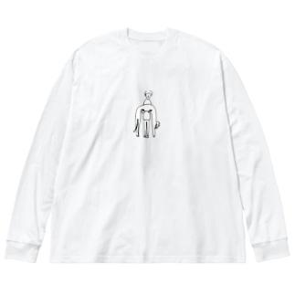 のびー Big silhouette long sleeve T-shirts