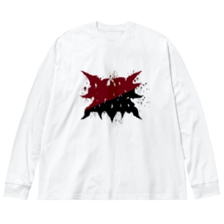PURE BLOOD RED BEFORE BLACK Big silhouette long sleeve T-shirts