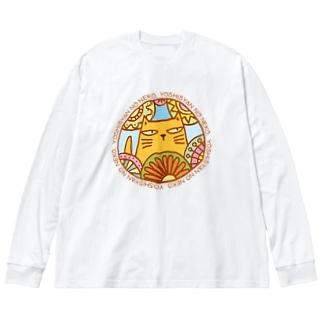 よししゃんのねこ Big silhouette long sleeve T-shirts
