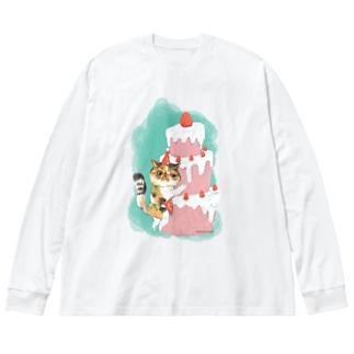 ヲカシなクリスマスケーキのアンズ Big silhouette long sleeve T-shirts