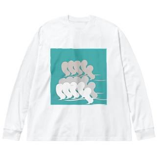 かくれんぼ大好きボウズ! Big silhouette long sleeve T-shirts