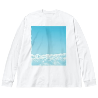 窓からくまこ―青空と雲編 Big silhouette long sleeve T-shirts