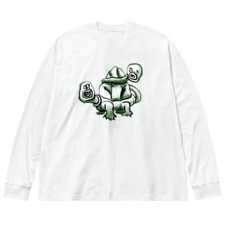 ししんのかめ Big silhouette long sleeve T-shirts