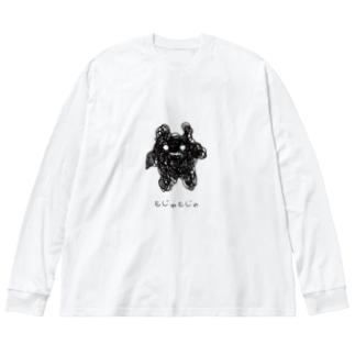 もじゃもじゃ Big silhouette long sleeve T-shirts