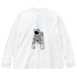 脱力宇宙猫 Big silhouette long sleeve T-shirts