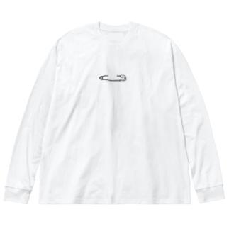 安全ピン Big silhouette long sleeve T-shirts