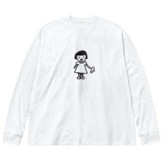 レトロな子供 Big silhouette long sleeve T-shirts
