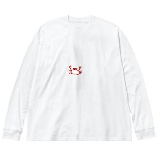 かわいいカニ Big silhouette long sleeve T-shirts