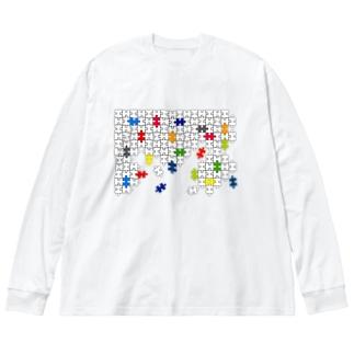 Jigsaw_Puzzle Big silhouette long sleeve T-shirts