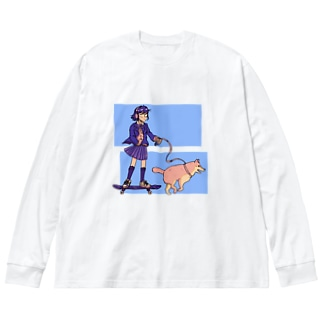 青春の光と影 Big silhouette long sleeve T-shirts