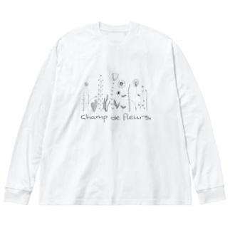oka__のモノクロ Big silhouette long sleeve T-shirts