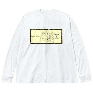 -ウマクナリタイ-ロングヘア女子 クリームイエロー Big silhouette long sleeve T-shirts