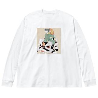 獅子舞ライドのカンフーちゃん Big silhouette long sleeve T-shirts