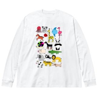 アニマルプリント(下手な絵) Big silhouette long sleeve T-shirts