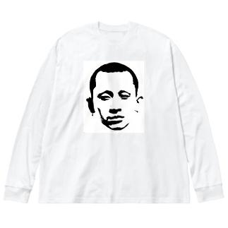 木炭フェイス Big silhouette long sleeve T-shirts