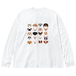 いろいろな犬種のかわいい顔 Big silhouette long sleeve T-shirts