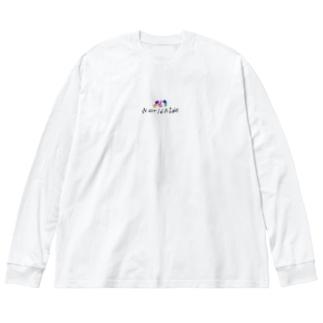 Worldwide イラスト付 Big silhouette long sleeve T-shirts