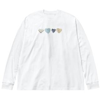 ハートの石 Big silhouette long sleeve T-shirts