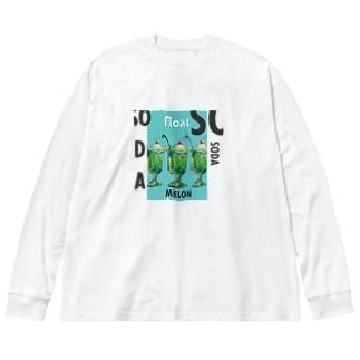 ノスタルジッククリームソーダ_タイポグラフ_トーメー Big silhouette long sleeve T-shirts