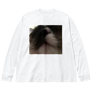 どーーーん Big silhouette long sleeve T-shirts