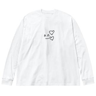 なんか幸せな気持ちになれそうなもの Big silhouette long sleeve T-shirts