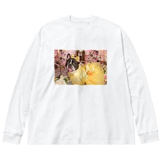 うめ黄色ドレス Big silhouette long sleeve T-shirts