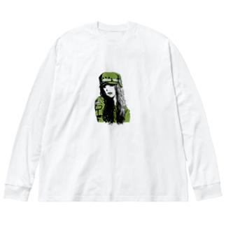 green Big silhouette long sleeve T-shirts