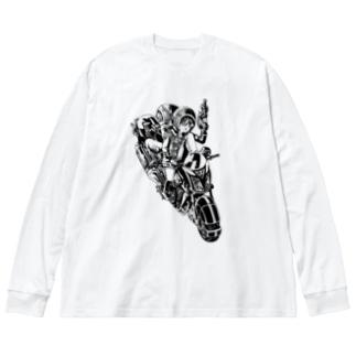 ピコピコハンマーと水鉄砲 Big silhouette long sleeve T-shirts