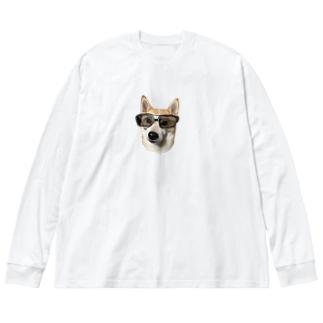 サングラス美人 Big silhouette long sleeve T-shirts