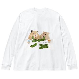 【KAMAP】枝豆とハムスター兄弟 Big silhouette long sleeve T-shirts