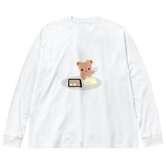 クッキーとクマさん Big silhouette long sleeve T-shirts