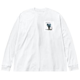 Hug cat Big silhouette long sleeve T-shirts