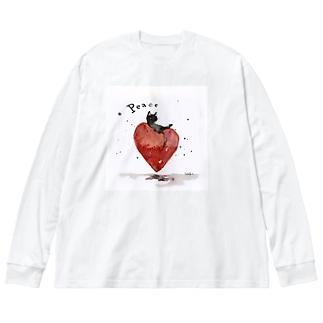 Peace cat Big silhouette long sleeve T-shirts