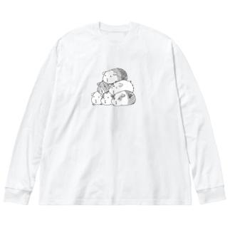 モルモットもっと盛る Big silhouette long sleeve T-shirts