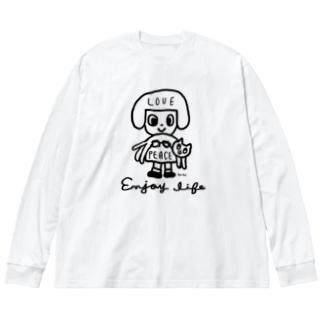 love & peace Big silhouette long sleeve T-shirts