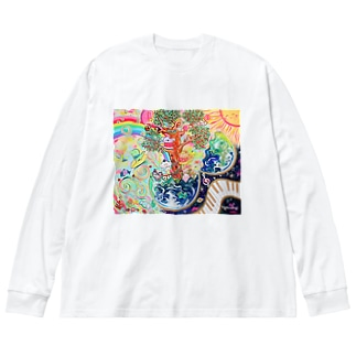 地球のたねたまご Big silhouette long sleeve T-shirts