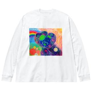 宇宙鳥 Big silhouette long sleeve T-shirts