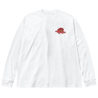 蛸くん Big silhouette long sleeve T-shirts