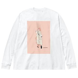 三茶ガール#2 Big silhouette long sleeve T-shirts