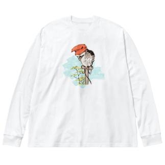 山鴞〜ふくろう〜 Big silhouette long sleeve T-shirts