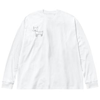 健気なdog Big silhouette long sleeve T-shirts
