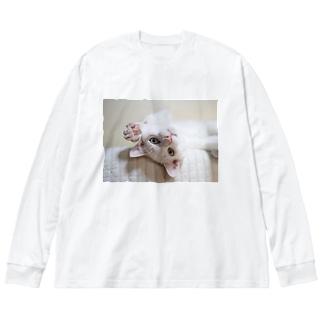 招き猫 珀ちゃん Big silhouette long sleeve T-shirts